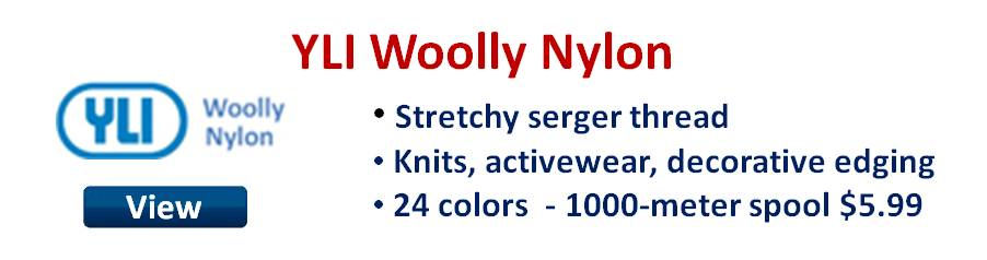 YLI Woolly Nylon stretchy serger thread.