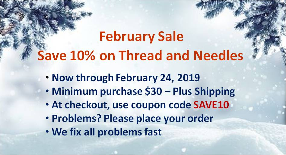 Save 10% on all thread and needles