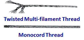 Multi-filament and monocord sewing thread